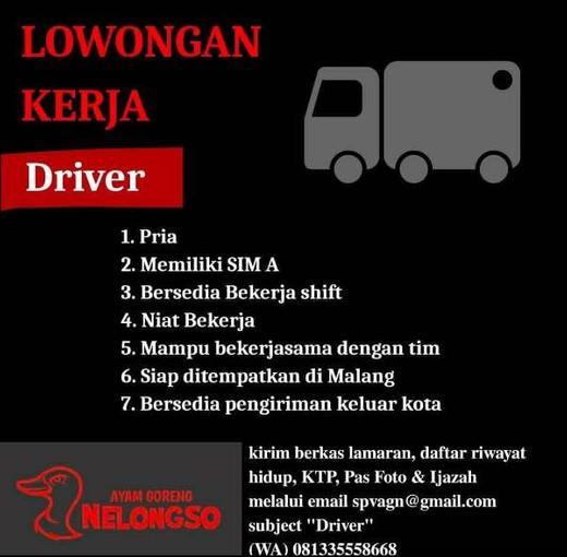 Lowongan Driver Sopir Malang Atmago