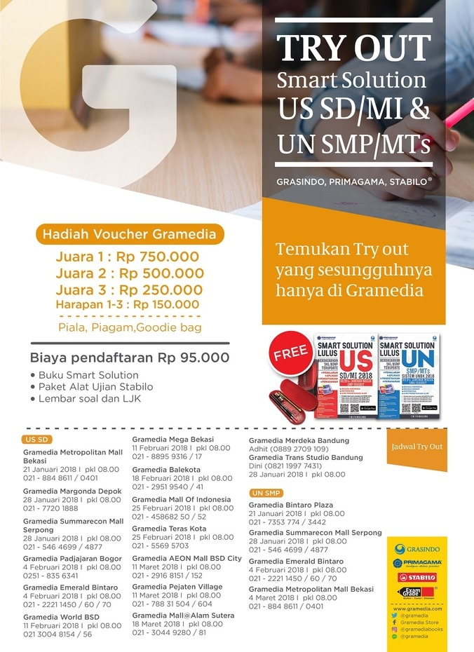 Gramedia try out sd   smp 2018 jabodetabek   bandung